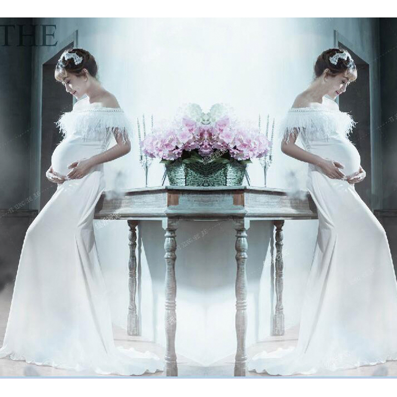 White Maternity Photography Props Long Party Dresses For Photo Shoot ...