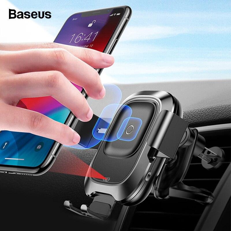 Cargador inalámbrico para coche Baseus Qi para iPhone Xs Max XR X Samsung Sensor infrarrojo inteligente de carga rápida sin cables para teléfono de coche