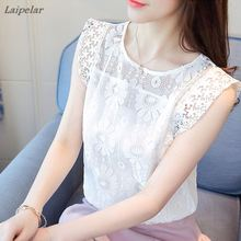 New White Blouse Women Fashion Sexy Lace Shirt Hollow Out Knitted Blouses 2018 Summer top Casual Slim Crochet Ladies Tops Blusas