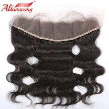 Али удивительные волосы бразильский объемная волна кружева фронтальной 13X4 уха до уха часть человеческих волос застежка натуральный Цвет 10-20 дюймов