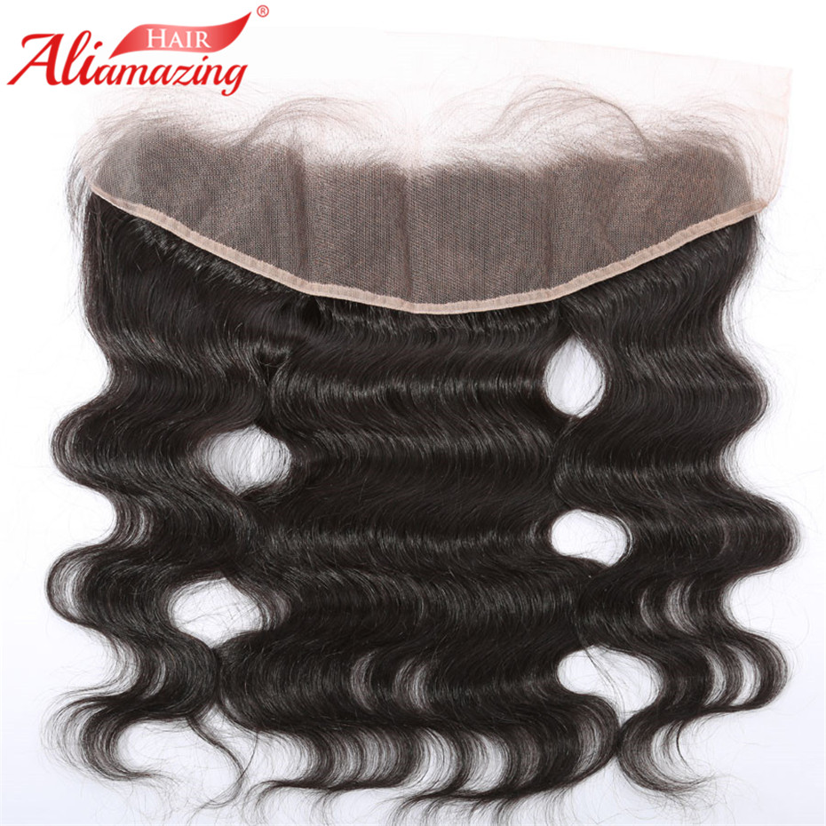 Ali Amazing Hair Brazilian Body Wave Lace Frontal 13X4 Ear To Ear Free Part Remy Human Hair Closure Natural Color 10-20 Inch
