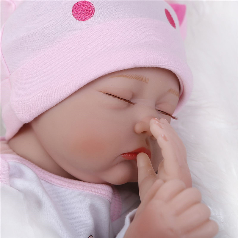 NPK 55cm Silikon Reborn Sleeping Baby Doll Kids Playmate Gave til - Dukker og utstoppede leker - Bilde 5