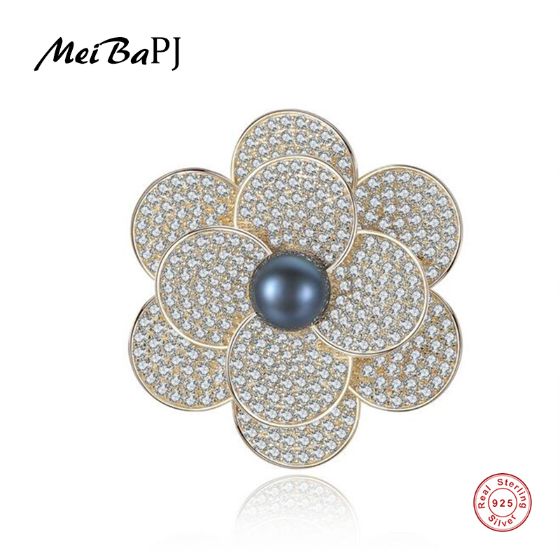 Breastpin Flower-Brooch Pearl Fine-Jewelry Silver Natural Real Meibapj Women for Luxourious