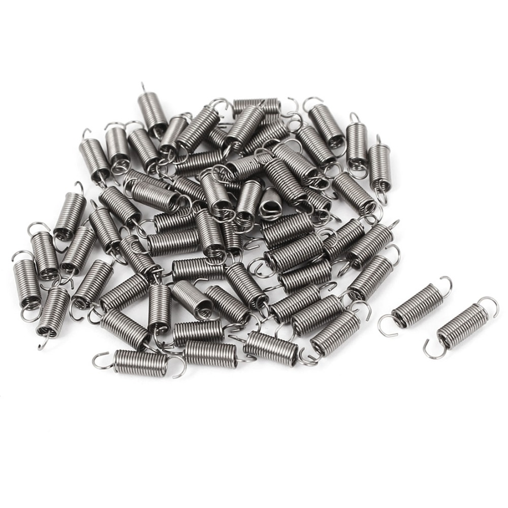 66pcs 0.4mmx3x12mm 304 Stainless Steel Dual Hook Small Tension Spring for Marine, Computer, Electronics, Automotive