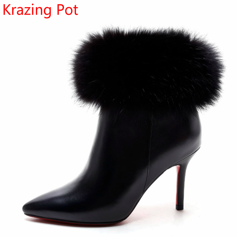 2018 Superstar Pointed Toe Rabbit Fur Zipper High Heels Nightclub Winter Boots Office Lady Fashion Ankle Boots for Women L5f2 2018 superstar cow suede streetwear square toe zipper high heels winter boots keep warm office lady ankle boots for women l50