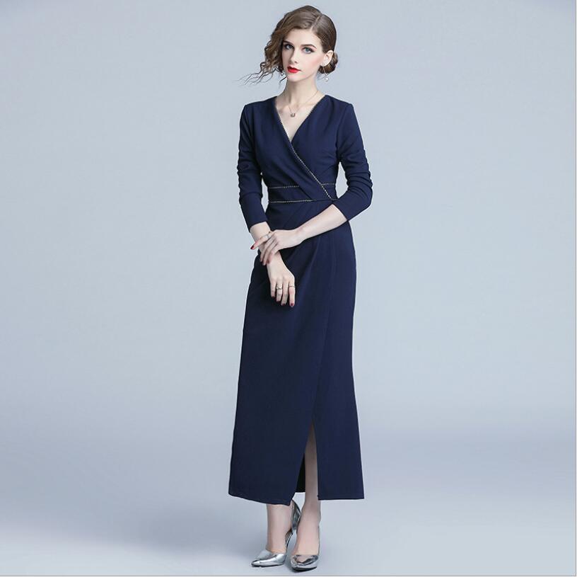 Tempérament Femelle Automne Manches Office Col V Lady Nouvelle Mode À Robe Longues 2018 5RA4Lj