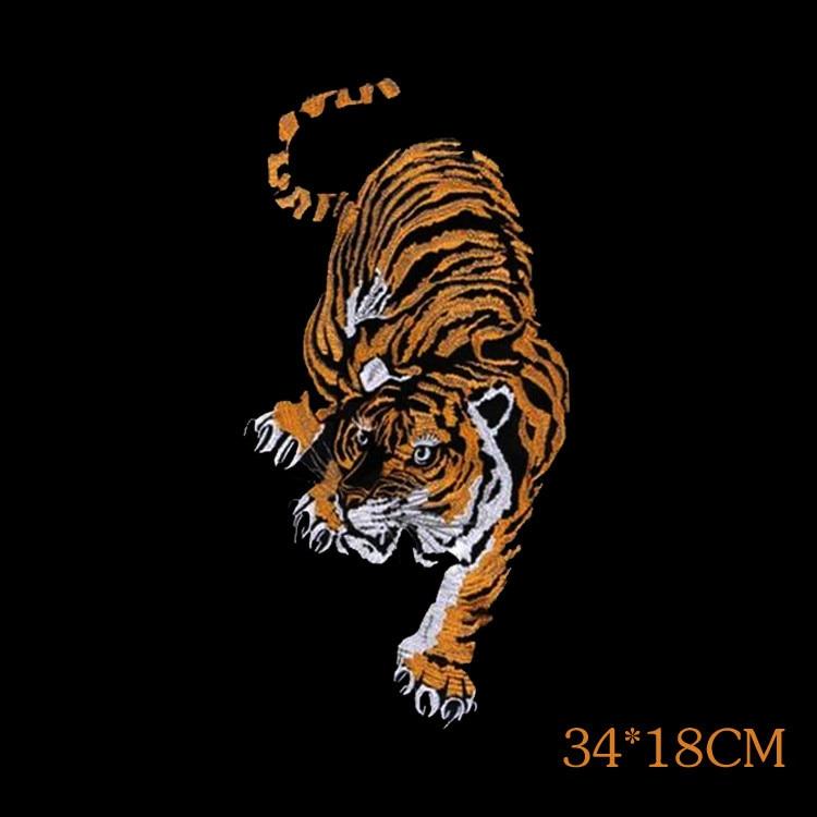 동물 Tiger Applique 수 놓은 패치 수제 꽃 의류 핀 수 놓은 패치