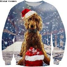 PLstar Cosmos Funny dog top hooded sweatshirt Christmas sweatshirt long-sleeve hoodie autumn thin pullover coat