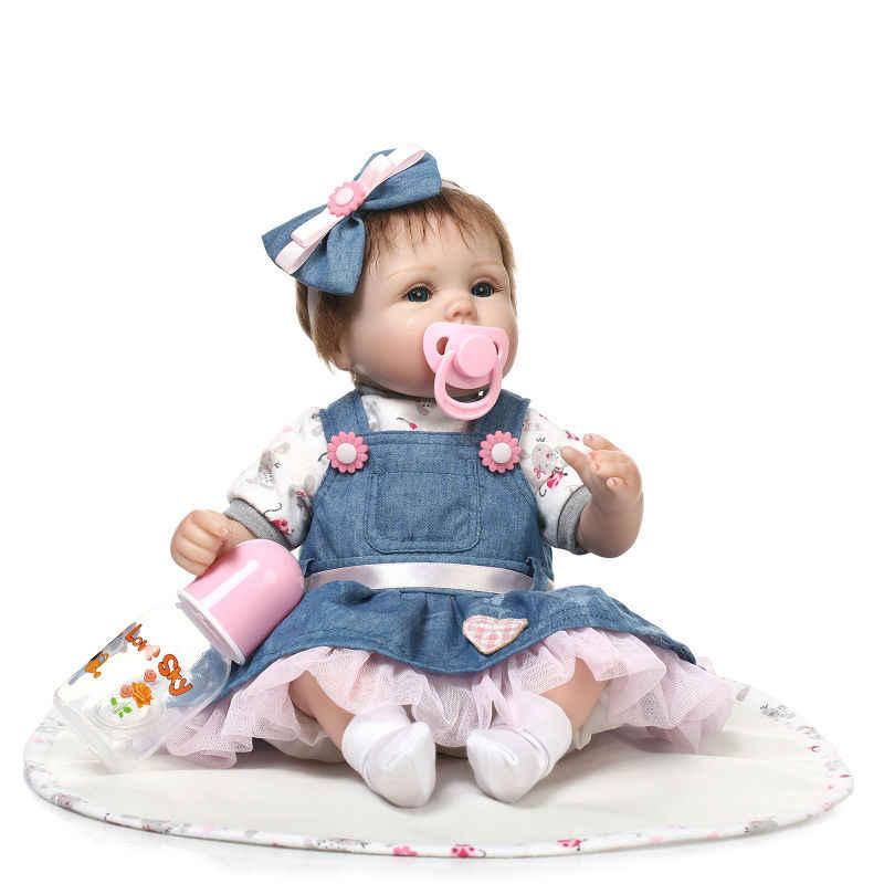 NPK Новинка 43 см Силиконовые Reborn Boneca Realista модные куклы для принцессы подарок на день рождения куклы