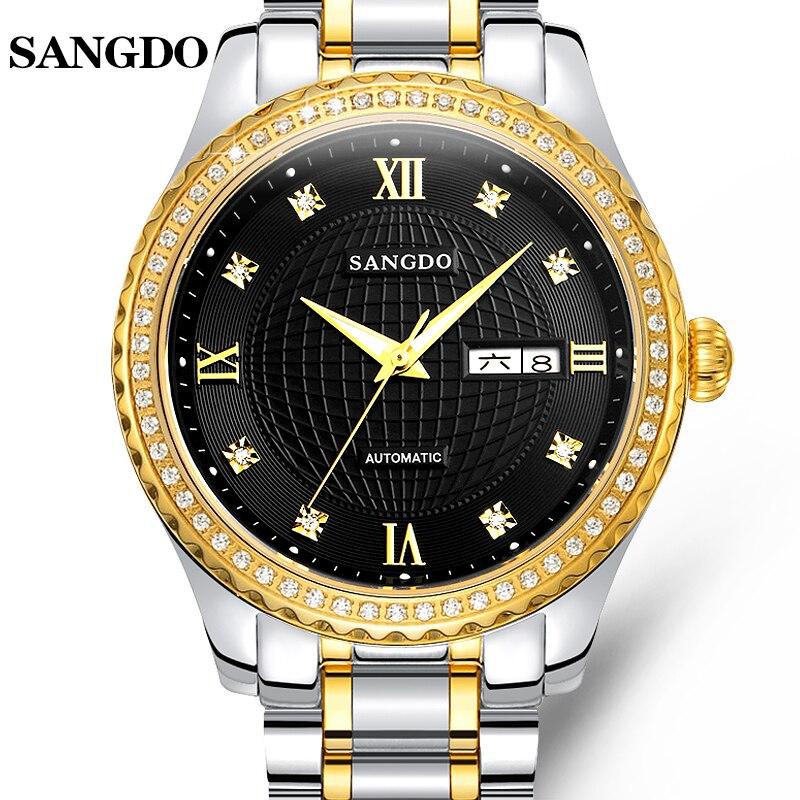 Fashion SANGDO watch men Stainless steel strap Automatic mechanical Sapphire waterproof calendar week watch relogio masculine