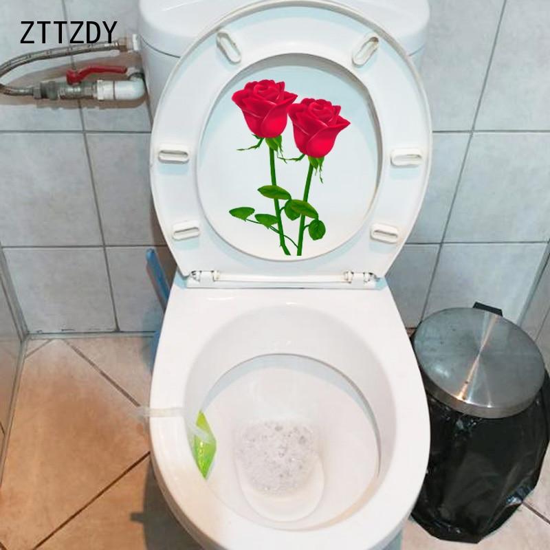 ZTTZDY 14*20.3CM Beautiful Rose Bathroom Decor Toilet Sticker Fashion Home Room Wall Decal T2-0052