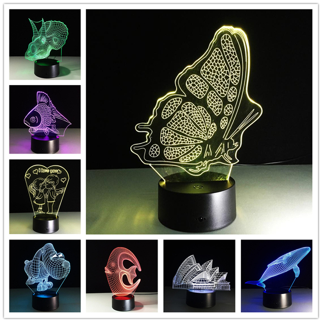 LED USB Colorful Night Lamp 3D Bulbing Light Heart Visual Illusion Lamp For Kids Toy Christmas Birthday Gifts Night Lighting