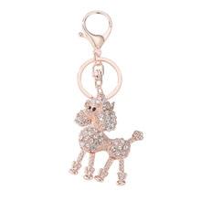Cute Crystal Poodle Keychain Keyring Rhinestone Dog Pendant Bag Car Keys Charm Key Rings Fine Jewelry Gift @CX17