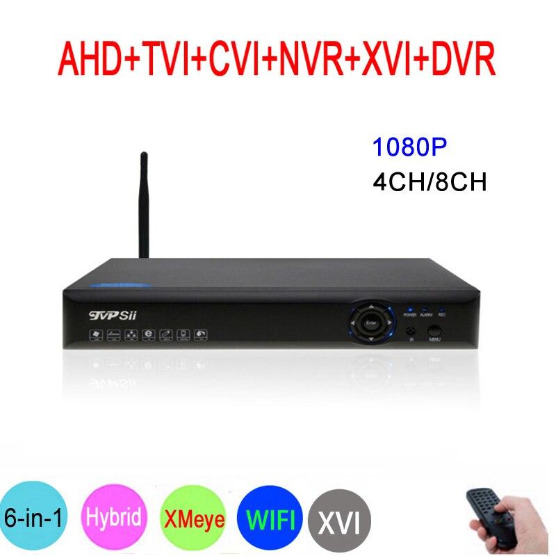 Blue-Ray Panel Hi3521A XMeye 8CH/4CH 1080P Full HD Video Recorder 6 in 1 Hybrid Wifi Onvif NVR TVI CVI AHD DVR Free Shipping