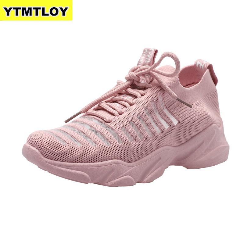 Sneakers Women Mesh Lace-Up Solid Flat Platform Shallow Stretch Fabric Knited Spring Autumn Wedges Shoes For Zapatos De Mujer 21