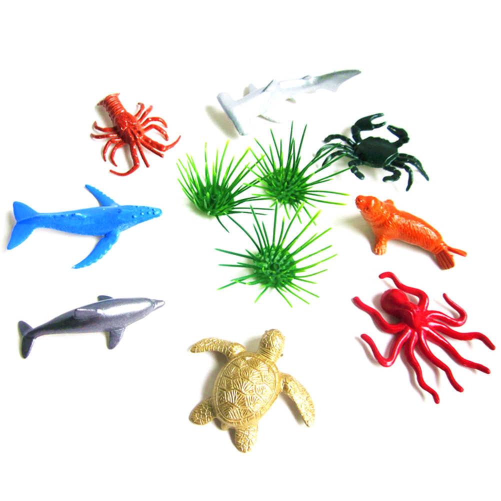 8 estilo de Vida Marinha Conjunto de Animais Do Mar Baleia Tubarão Polvo Caranguejo Tartaruga Golfinho Pinguim Presente Das Crianças Modelo Brinquedos