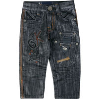 Little Boys Embroidery Letter Pattern Regular Denim Jeans Kids Party Wear Trousers Children Casual Simple Style