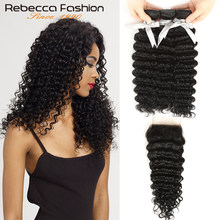 Rebecca Non Remy Malaysian Hair Deep Wave 3 Bundles With Closure Human Hair Weave 8 To 28 30 Inch Bundles With 4X4 Lace Closure(China)