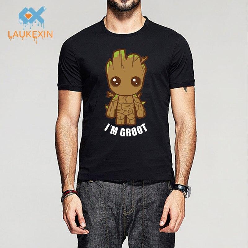 New I Am Groot Guardians of the Galaxy Movie T Shirt Men Women Print 100% Cotton O Neck Shirts Black Top Tees Brand Clothing