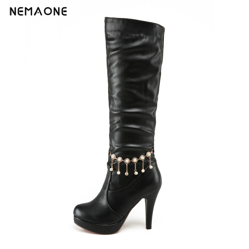 цены  NEMAONE New brand fashion women autumn winter boots lady shoes woman high heels knee high boots women's sexy warm snow boots