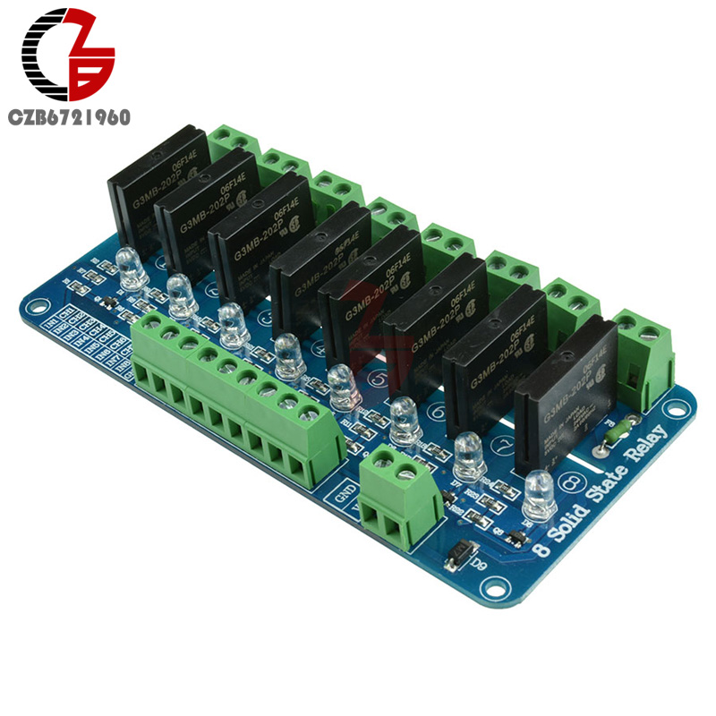 DC 5V 8 Channel SSR Solid State Relay Module Board For Arduino G3MB-202P 5v 2 channel ir relay shield expansion board for arduino