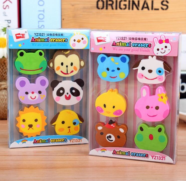 6pcs/Lot Rubber Erasers Kawaii Zoo Kid Gift Supplies Stationery Borracha Material Escolar Utiles Escolares Papelaria H1405