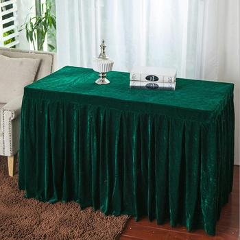 Velvet Fabric Conference Table Cover Sing Table Skirts Event Party Tablecloth Booth Setting Multi-Usage Banquet Table Cloth