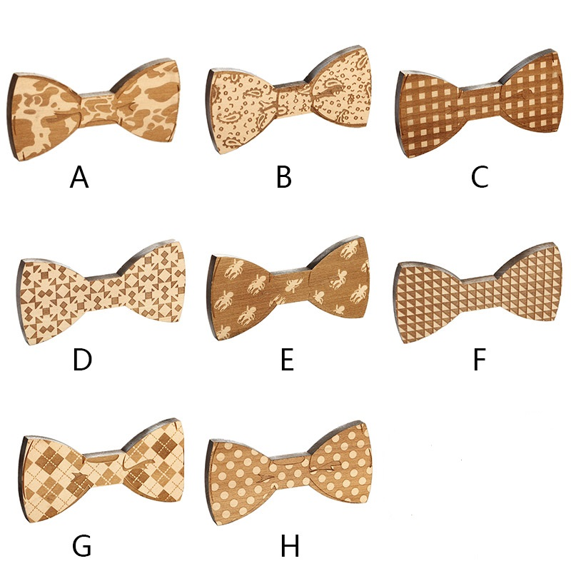 Fashion Adult Wooden Bow Tie Collar Flower Camouflage Pattern Bow Party Wood Bow Tie Magnet Costume Decor Bow Ties New