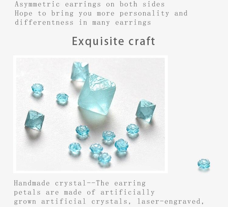 HTB1eIMaJkSWBuNjSszdq6zeSpXar Thaya s925 Silver Thorn Blue Crystal Rose Design Black Stud Earrings for Women Asymmetry Flower Earring Female Jewelry Gift