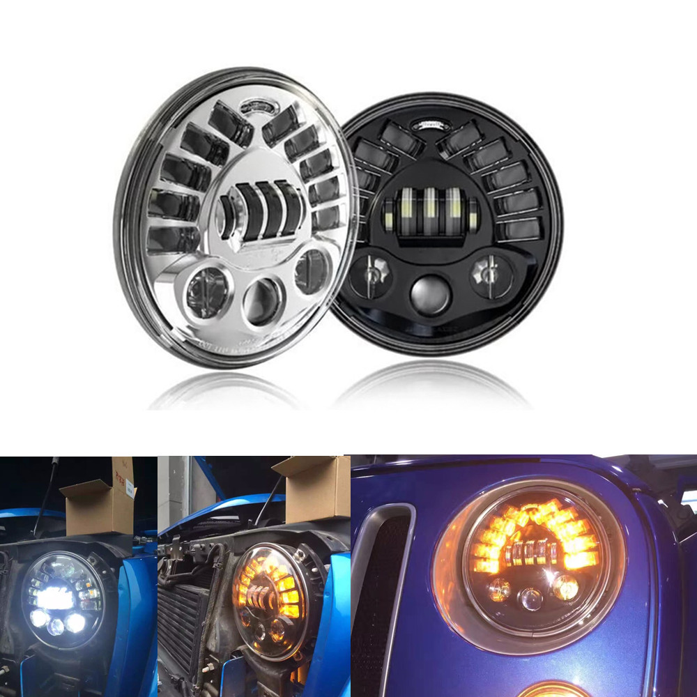 2 X Wrangler 7 Inch Led Projector Headlights With DRL Left Right Turn Signal For JK TJ Landrover Offroad Defender Harley
