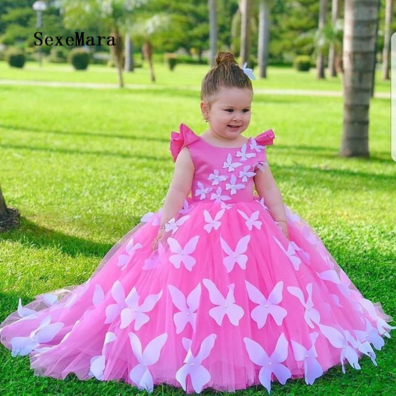2019 New Fabulous   Flower     Girl     Dress   with 3D Butterflies and Beading Custom Made   Girls   Birthday Gowns Backless Kids Foraml Wears