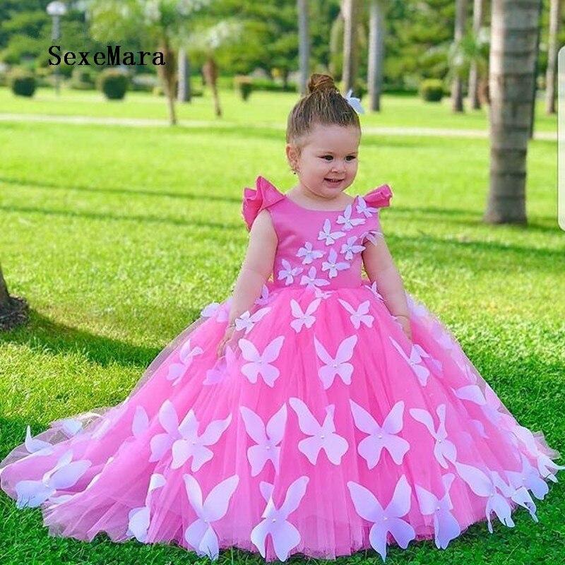 2020 New Fabulous   Flower     Girl     Dress   with 3D Butterflies Beading Custom Made   Girls   Birthday Gowns Backless Kids Foraml Wears