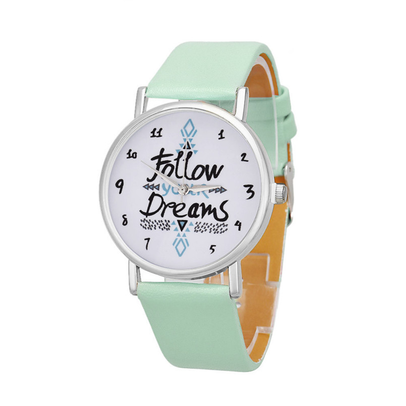 Delicate watch women watch NewHot Girls Bracelet Watch Women Follow Dream Words Pattern Leather Watch Relogio Feminino Mujer sunward relogio feminino women dress watches follow dreams words pattern pu leather mint green stylish wholesale jan711