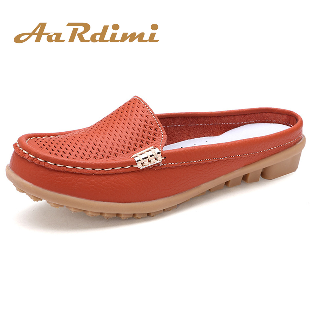 AARDIMI Summer Women Slippers Genuine Leather Leisure Flip Flops Women Flat Shoes Slip On Flats Ladies Clogs Shoes Woman