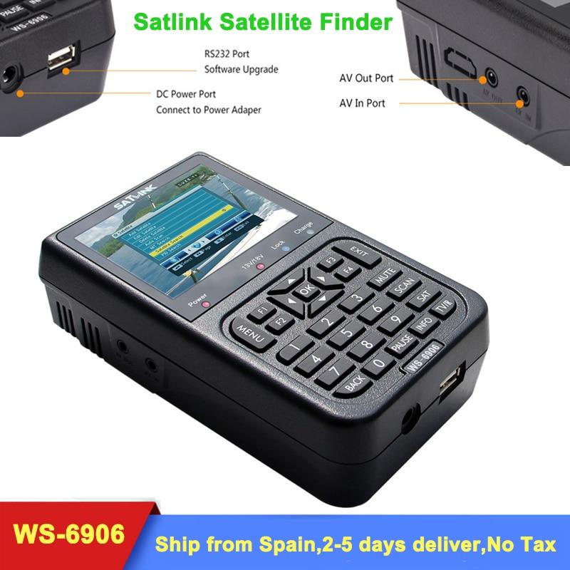 Original Satlink WS-6906 DVB-S2 FTA Digital Satellite Signal Meter 3.5 inch LCD Display Screen WS 6906 satellite Finder WS6906 thani 4 3 inch hd tft lcd screen display for satlink ws 6932 ws 6936 ws 6939 ws 6960 ws 6965 ws 6966 ws 6979 satellite finder