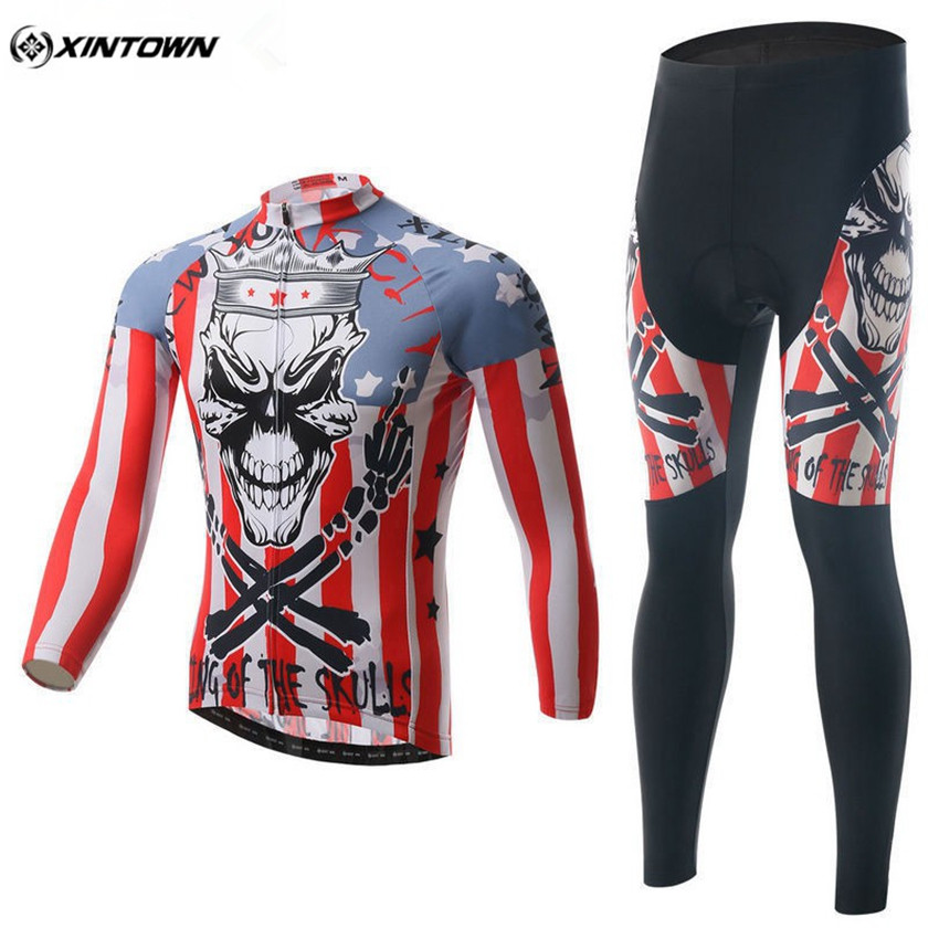 XINTOWN Men Long Sleeve Cycling Jersey Set Bicycle Cycling Clothing Red Maillot Sportswear Bike Riding Team Clothing CC0315