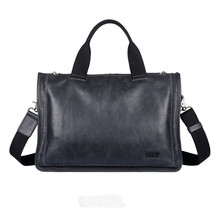 Pabojoe brand High end business genuine leather handbag Men cow leather Messenger Bag Retro large capacity