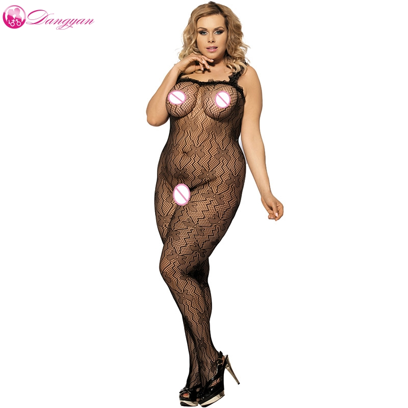DangYan Erotic Fishnet Bodystocking Plus Size Sexy Women's Catsuit Transparent Big Size Tights Sexy Lingerie Sex Bodysuit