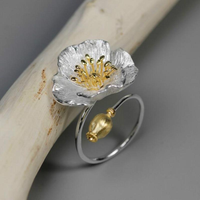 JINSE Real 925 Sterling Silver Handmade Designer Fine Jewelry Blooming Poppies Flower Rings for Women Bijoux