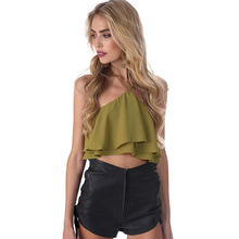 2017 Spring Summer New Camis Jacket strapless Vest Backing chiffon shirt Green/stripe chiffon short Solid vest Free Shipping