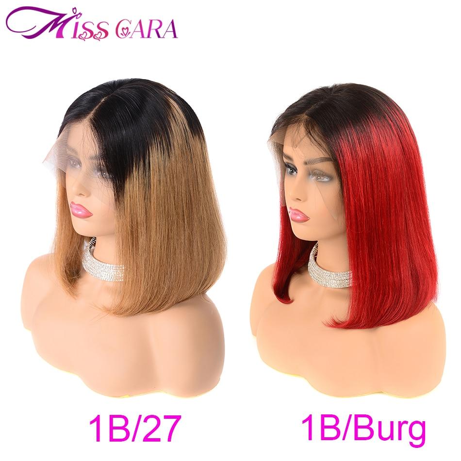 1B 27 1B Burg Short Lace Front Human Hair Wigs Brazilian Straight Bob Wigs Pre Plucked