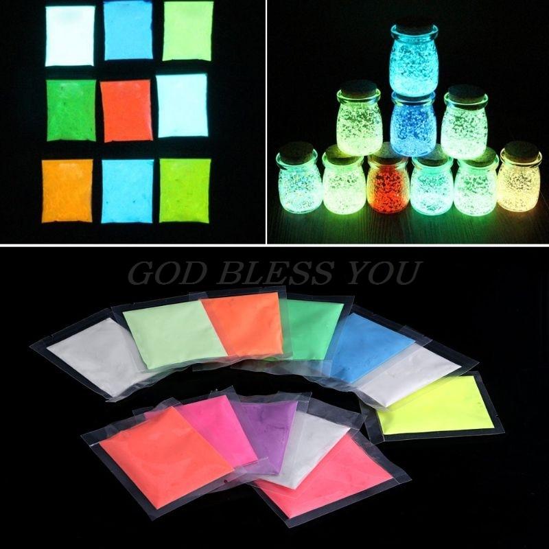 12 Colors Fashion Super Bright Glow in the Dark Powder Glow Luminous Pigment Fluorescent Powder Brightly Colored Powder 10g/bag