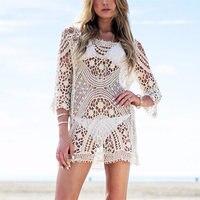Drop Ship 2017 Sexy Knitted Beach Cover Up Swimwear Summer Bikini Cover Up Swim Beach Dress