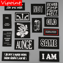 VIPOINT one set embroidery printed warning patches letter alphabet badges applique for clothing YM-28