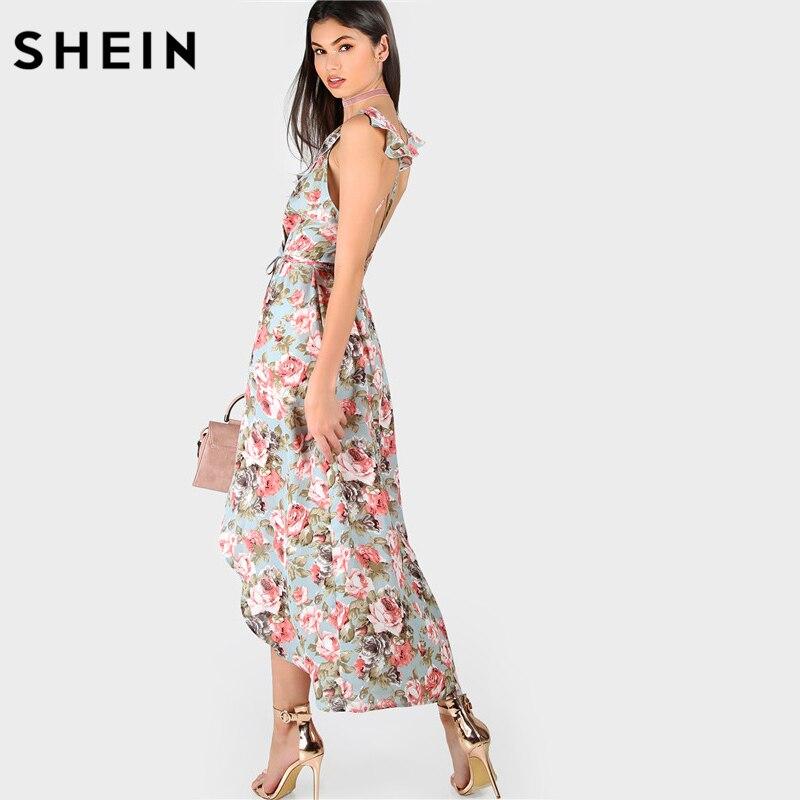 283faf80c2 SHEIN Womens Summer Dresses A Line Dress Ladies Sleeveless Plunge Rose Print  Asymmetric Crisscross Back Long Dress-in Dresses from Women's Clothing on  ...