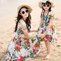 2017 New summer Family mother daughter dresses Fashion flower butterfly dress  beach dress party dresses