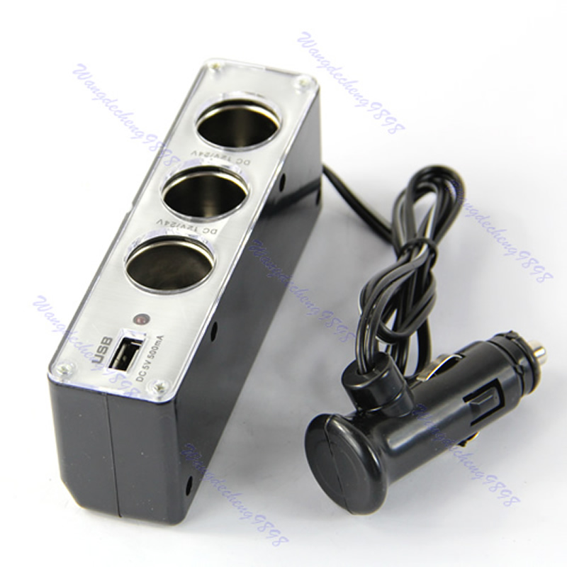 3 Way Car Cigarette Lighter Socket Splitter DC 12V Charger Adapter with USB