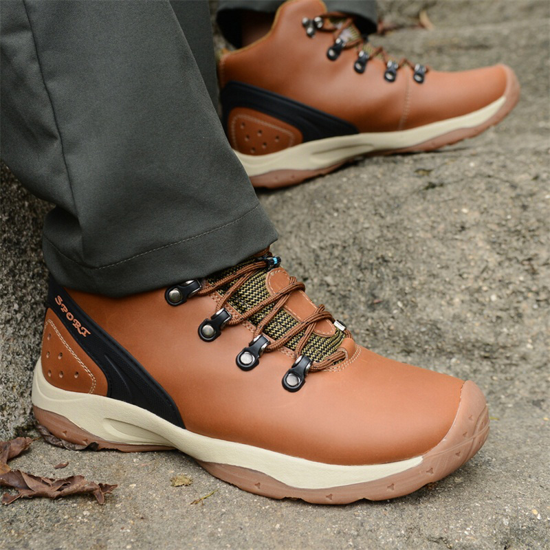 Men Genuine Leather Winter Outdoor High Top Snow Boots hiking Shoes Waterproof Men hiking Sneakers winter men s outdoor warm cotton hiking sports boots shoes men high top camping sneakers shoes chaussures hombre