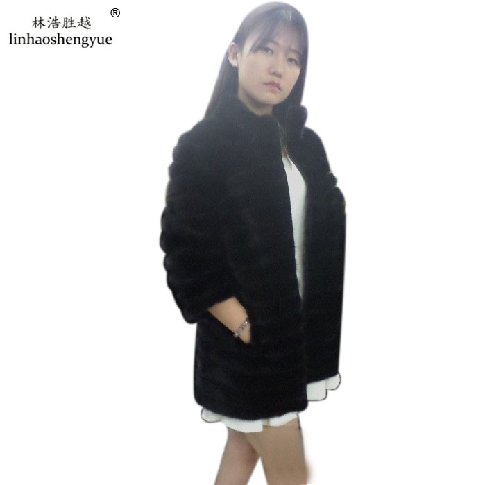 Linhaoshengyue 2015 mink fur highlight pig skin coat 2.5:2.5