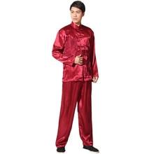 Nuevo Satén Rayón Traje de Kung Fu Chino Tradicional de Los Hombres Largo de La Vendimia manga Tai Chi Wushu Uniforme Ropa Ml XL XXL 3XL L070623